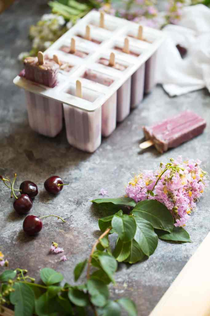 Vegan Cherry Coconut Popsicles