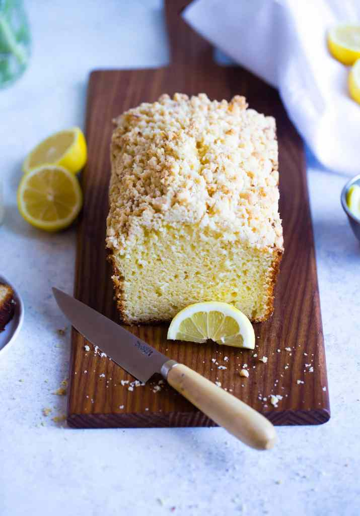 Lemon Crumb Loaf on wooden board