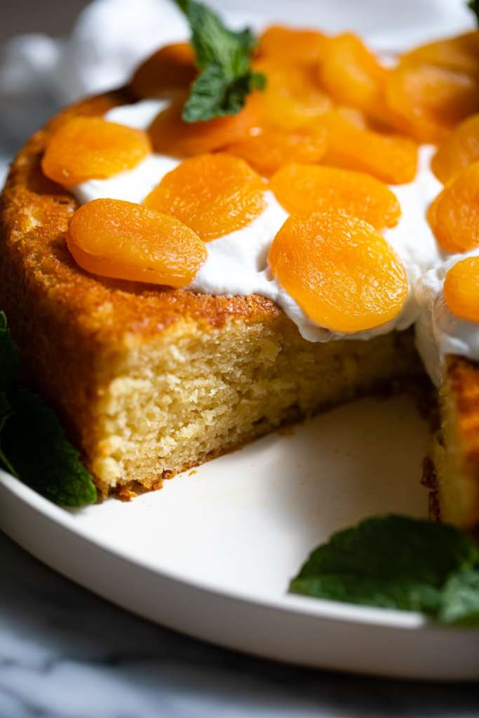 side of apricot snacking cake on white plate