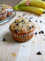 Healthy Eggless Banana Oats Chocolate Chip Muffins