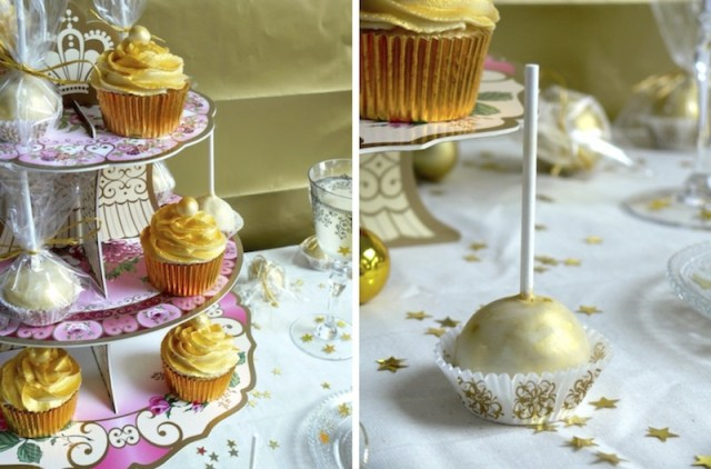 Golden White Chocolate Champagne Cupcakes 1