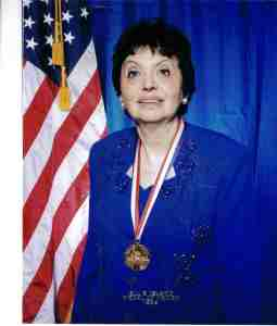 Inge wearing Ellis Island Medal of Honor