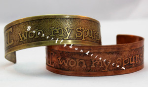 "Part of the Knights Collection, these ""I won my spurs!"" cuffs are a great celebration of the knight-spirit in you and your loved ones!"