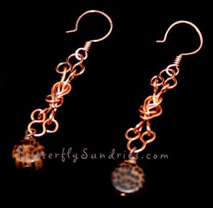 Naval Knot Wood Round Earrings on Black
