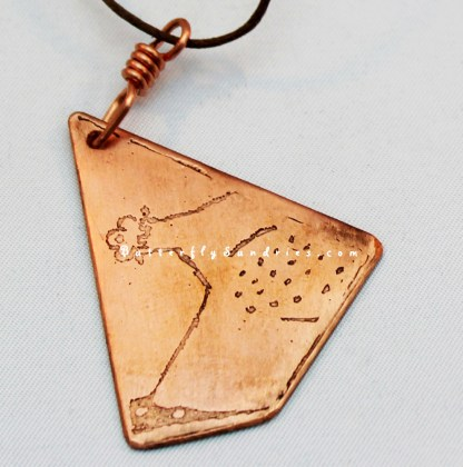 Etched Copper Bascinet Pendant Close-up on White