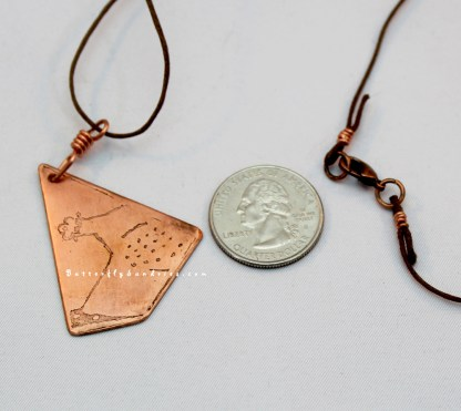 Etched Copper Bascinet Pendant Perspective on White