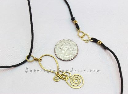 Large Brass SS Pendant and Clasp perspective