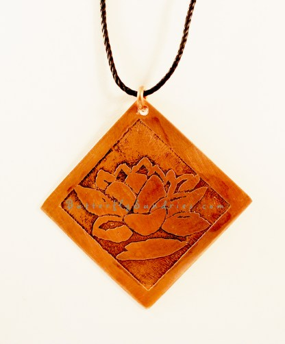 Large Copper Diamond Lotus Pendant Hanging on White Close-up