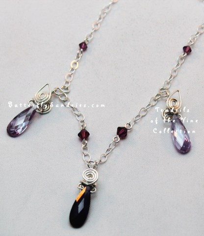 SS 3 Swarovski Drop tendrils Necklace Glamour Shot