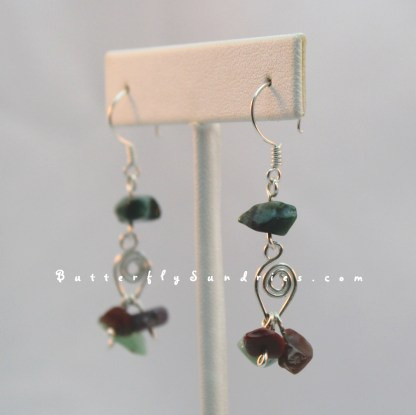 SS Leaf and Jasper Earrings Hanging on White