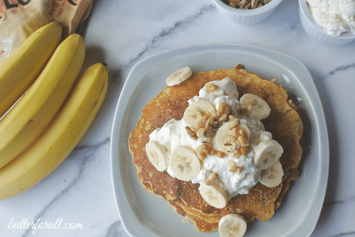 Banana Nut Sourdough Pancakes – With Maple Whipped Cream