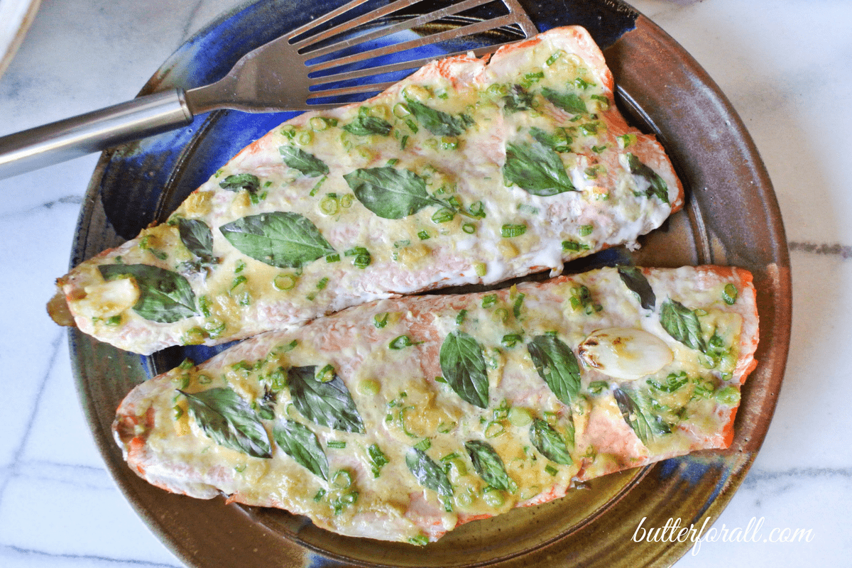 Grilled Salmon Fillets – With Thai Basil, Garlic, Ginger And Scallions