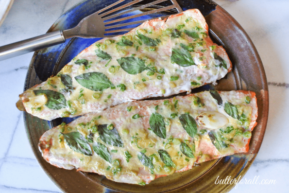 Grilled Salmon Fillets With Thai Basil, Garlic, Ginger And Scallions