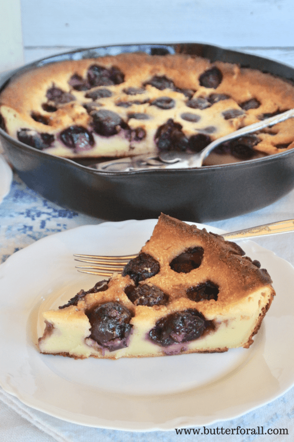 Sourdough Clafoutis fresh out of the oven and bursting with black cherries!