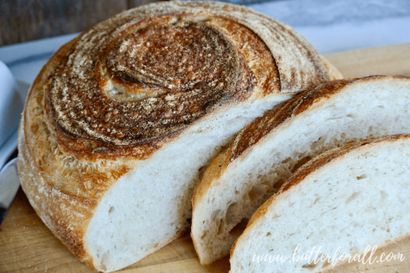 A soft artisan sourdough boule cut in thick slices perfect for toasting.