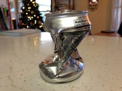 We crushed this can last week using the power of science. Because Pete was studying air pressure.