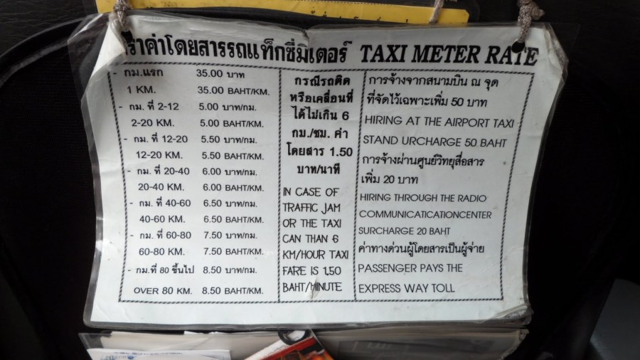 bangkok tarifs taxis