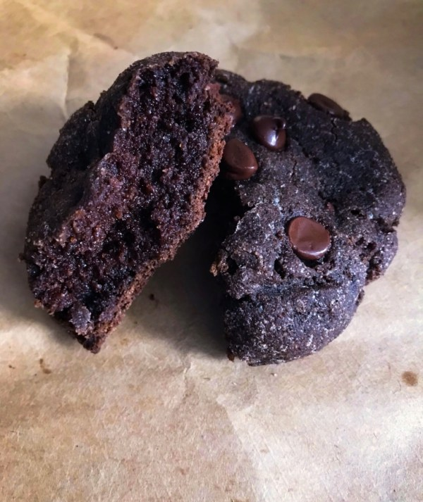 close up of a cookies cut in half