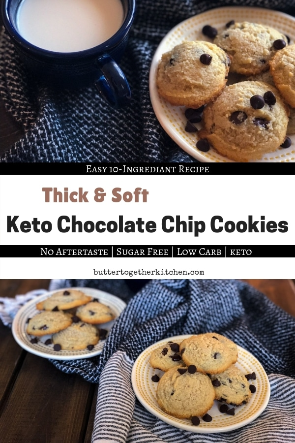 Thick & Soft Keto Chocolate Chip Cookies #ketocookies #keto #lowcarbcookies #sugarfree #sugarfreecookies #ketorecipes #easyketorecipes #cookies #chocolatechipcookies #ketochocolatechipcookies | buttertogetherkitchen.com