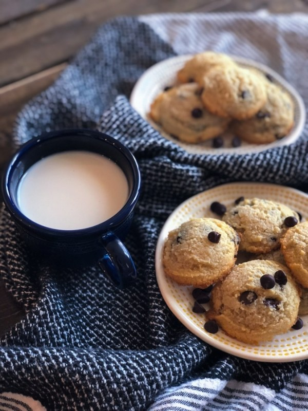 Two plates of keto chocolate chip cookies with a glass of milk in between