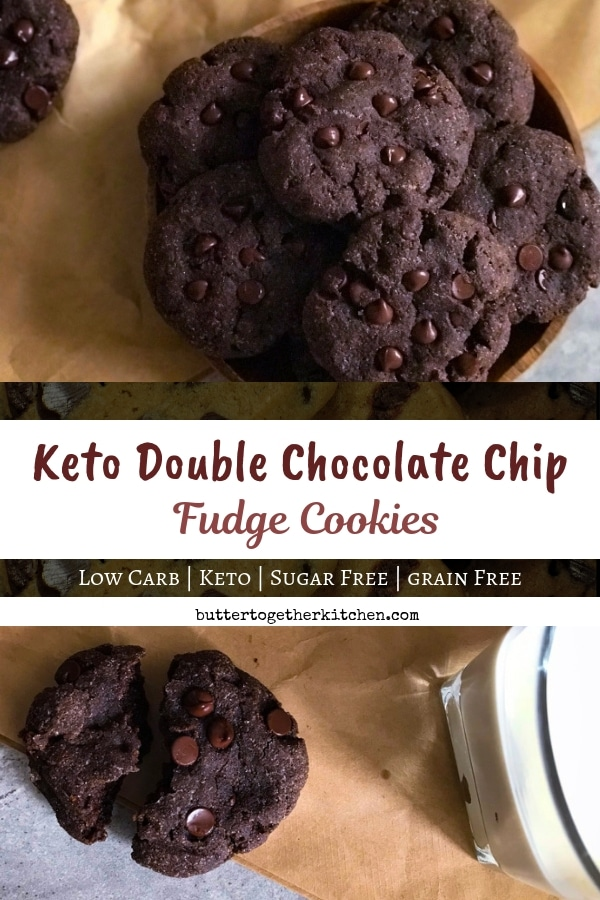 Keto Double Chocolate Chip Fudge Cookies - Soft, Big, & Fudgey on the inside! Perfect low carb cookie! #ketocookies #lowcarb #lowcarbcookies #ketodiet #doublechocolatecookies #sugarfreecookies #ketorecipes #ketodessert #grainfree | buttertogetherkitchen.com