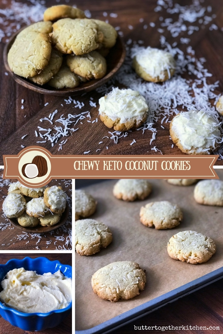 Chewy Keto Coconut Cookies -These are soft, chewy and frosted with a cream cheese frosting that is to die for! #coconut #ketocookies #lowcarb | buttertogetherkitchen.com