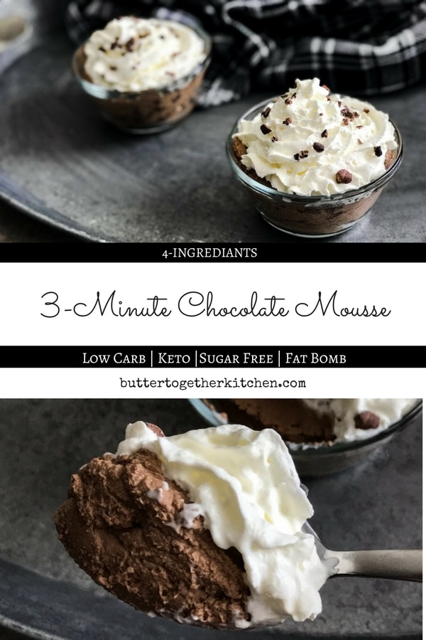 Chocolate Mousse - Easy 3-minute chocolate mousse! Enjoying this keto-friendly treat is the perfect way to get your chocolate fix. #chocolatemousse #ketodessert #fatbomb #chocolate #sugarfree #lowcarb #lchf #heavycream #cocoa #keto #easyrecipe #3minutes | buttertogetherkitchen.com