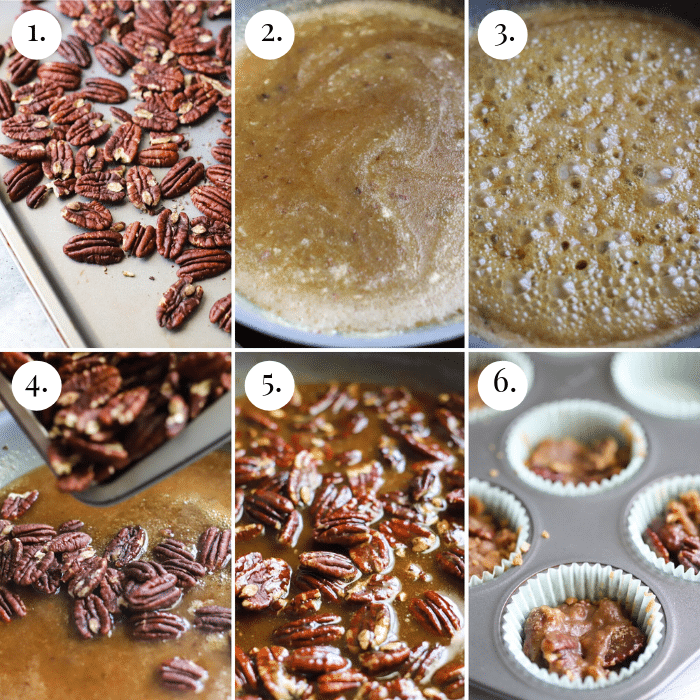 six photo collage of how to make keto pecan pralines