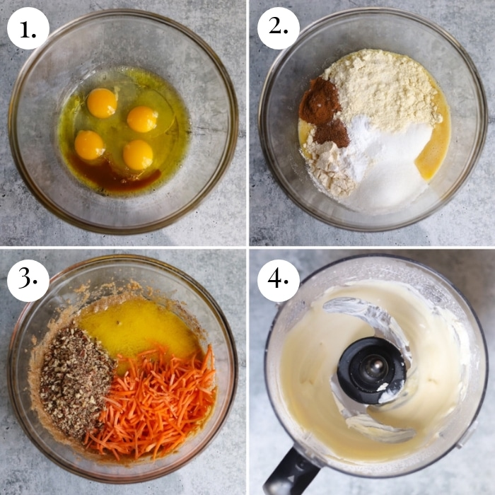 step by step four photo collage of how to make low carb carrot cake
