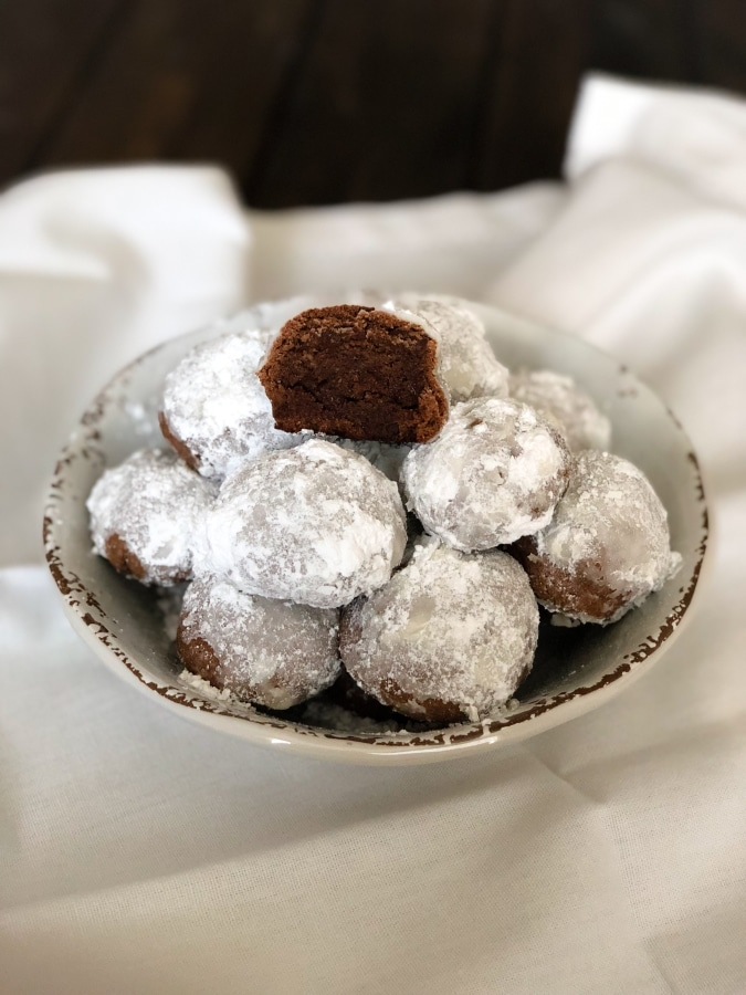 Chocolate Snowball Cookies Keto Low Carb