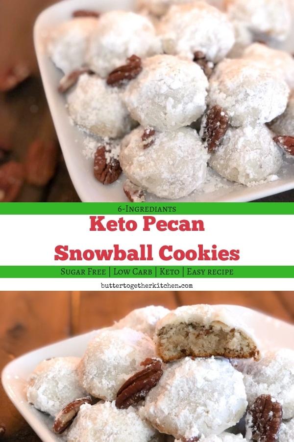 Keto Pecan Snowball Cookies #sugarfree #snowballcookies #keto #ketocookies #mexicanweddingcookies #lowcarb #ketodessert #holidaycookies #christmascookies #easycookierecipe #easyketorecipe | buttertogetherkitchen.com
