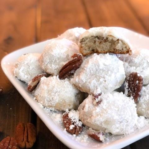 Keto Pecan Snowball Cookies