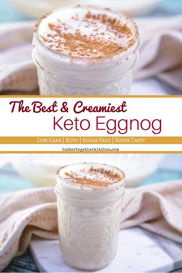 Thick & Creamy Keto Eggnog - Simply the best! #eggnog #ketoeggnog #lowcarbeggnog #holidaydrink #christmasdrink #ketorecipe #ketodrink #sugarfree #sugarfreeeggnog | buttertogetherkitchen.com