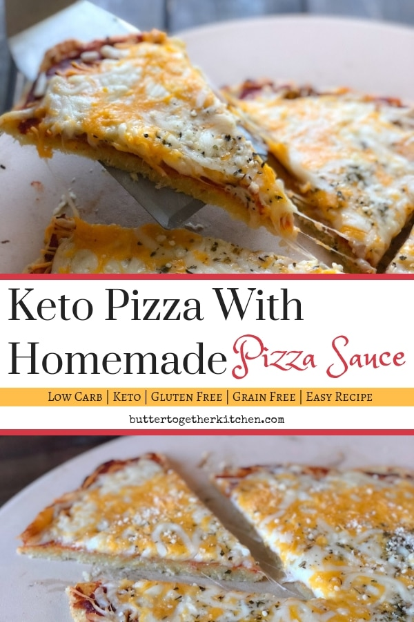 Tasty Keto Pizza With Homemade Pizza Sauce #ketopizza #lowcarbpizza #fatheaddough #ketolunch #ketodinner #easyketorecipe #ketosauce #ketogenic #ketodiet #ketofood | buttertogetherkitchen.com