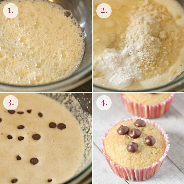 step by step how to make keto chocolate chip muffins
