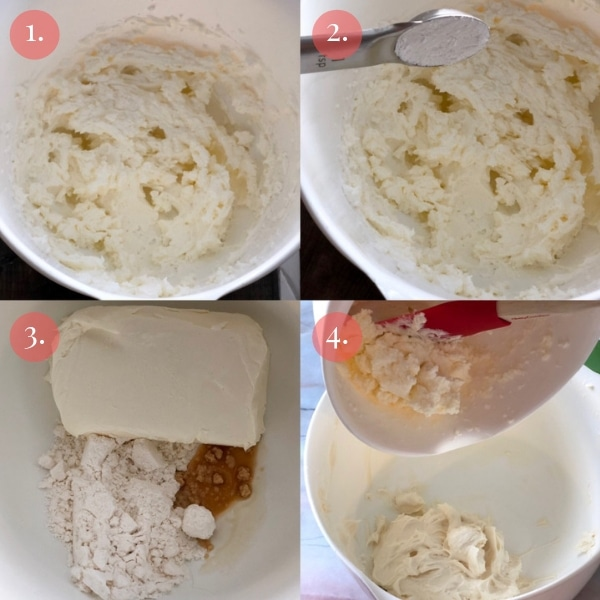 step by step four photo collage how to make keto cheesecake dip