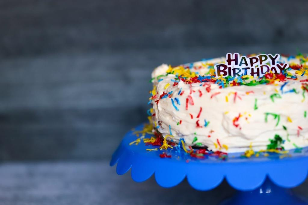 close up view of the cake with a hoary birthday sign on top of cake