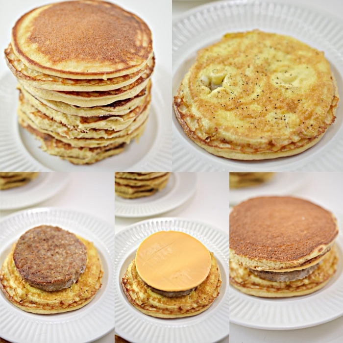 step by step photos how to put together the McGriddle sandwich