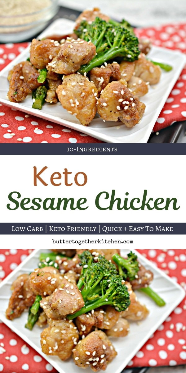 Tasty Keto Sesame Chicken - This crispy and full of flavor keto sesame chicken is so easy to make and the perfect dish to satisfy your Chinese food take our craving! Perfectly sweetened and guilt free! #ketosesamechicken #ketodinner #ketochicken #lowcarbdinner #ketochinesefood #sesamechicken | buttertogetherkitchen.com