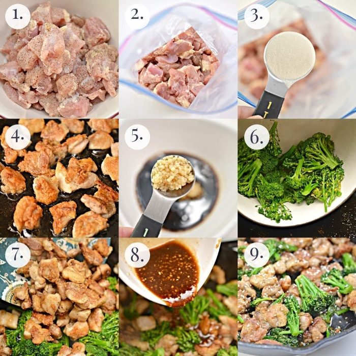 step by step how to make keto sesame chicken 9 photo collage