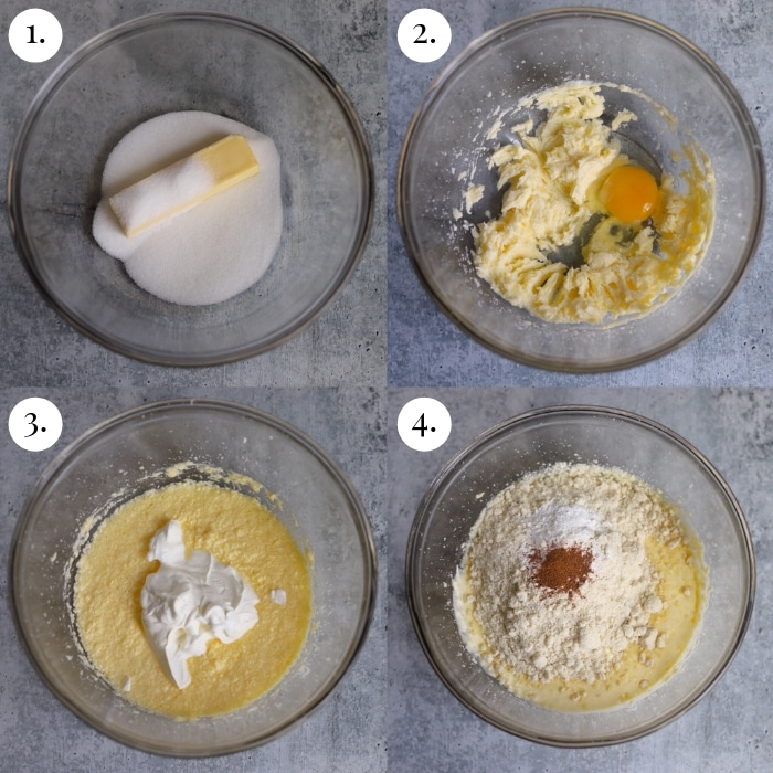 four image collage of how to make the coffee cake