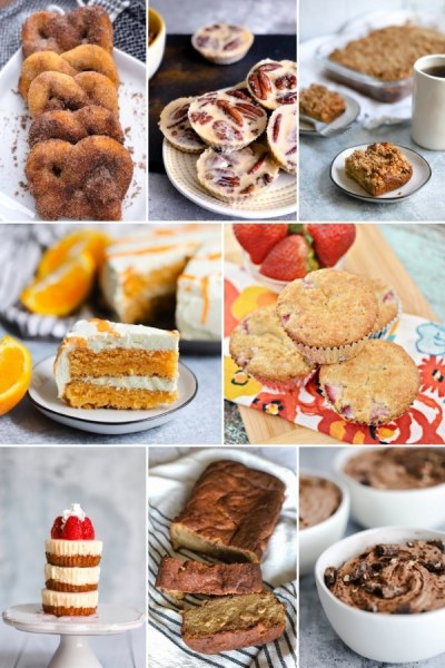 8 photo collage of different bento brunch recipes