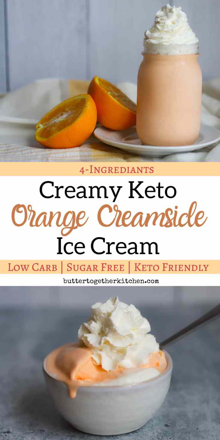 Creamy Keto Orange Creamsicle Ice Cream - This easy keto orange creamsicle ice cream is the perfect summer treat! #ketoicecream #ketoorangecreamsicle #ketodessert | buttertogetherkitchen.com