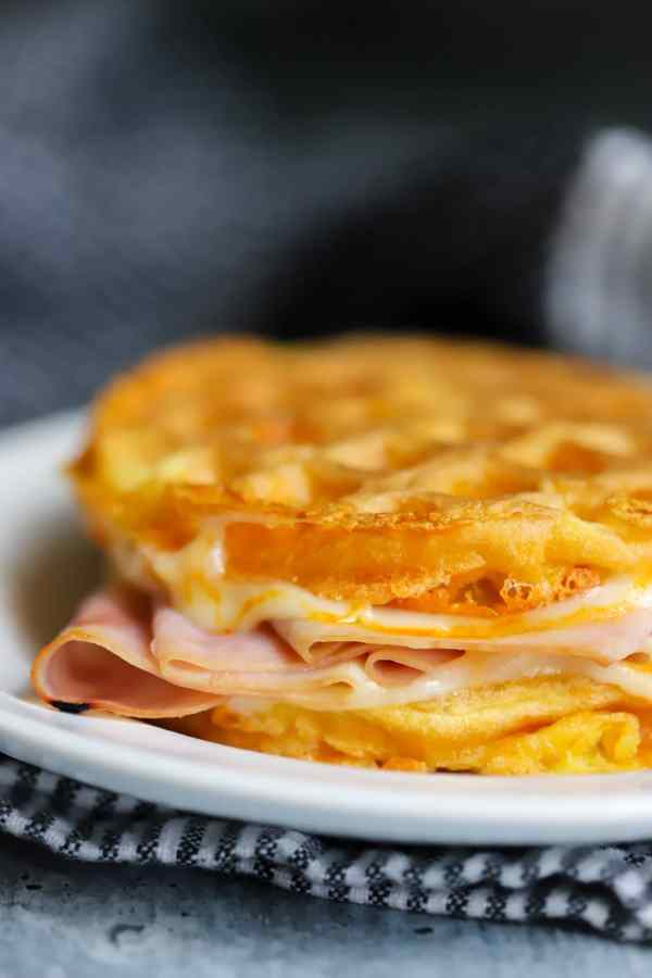 keto chaffle sandwich on a plate
