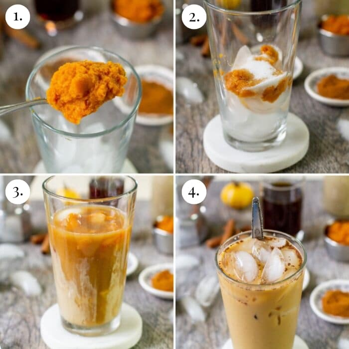 step by step four photo collage on how to make keto pumpkin iced latte