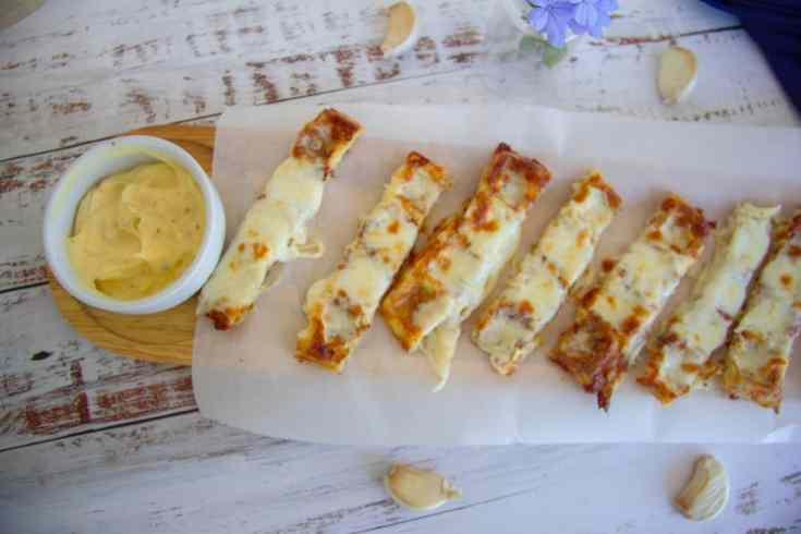 Keto Chaffle Garlic Cheese Bread Sticks