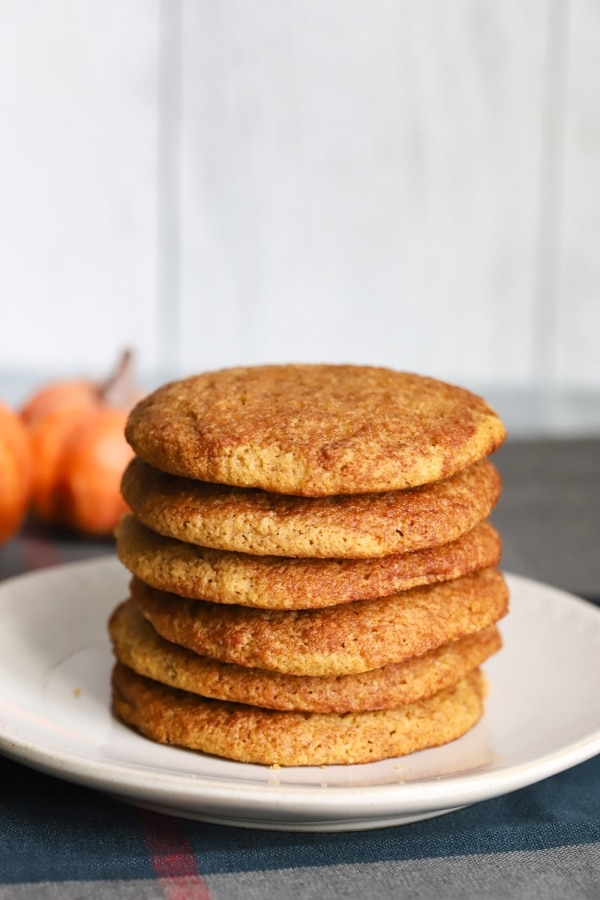 stack of keto pumpkin snickerdoodle cookies on a plate