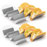 4 Pack Stylish Stainless Steel Taco Holder Stand