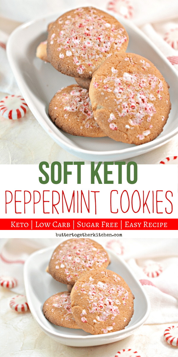 Get festive with these delicious Keto Peppermint Cookies this! You won't feel deprived from all the sweets with these holiday cookies! #ketocookies #ketoholidaycookies #ketodessert #ketopeppermintcookies #lowcarbcookies #ketochristmascookies | buttertogetherkitchen.com