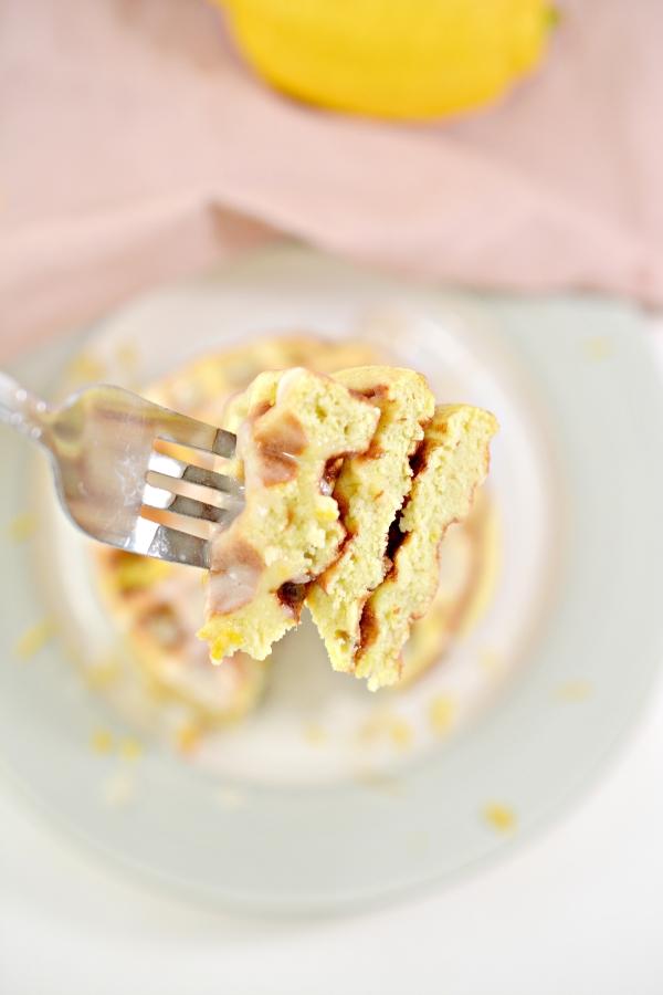 closeup of fork holding a bite of lemon chaffles